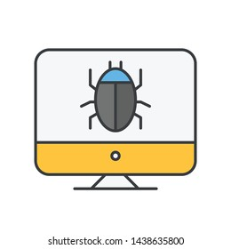 Computer bug find icon, error, bug or scam detected, thread, malware scan with magnifier. Malware on computer display. Virus computer bug icon. Simple design.