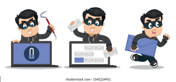 Computer burglar standing near laptop with lock pick, thieving confidential information, running away with big letter. Phishing, cyberattack, spam, viruses campaign concept. Vector set.