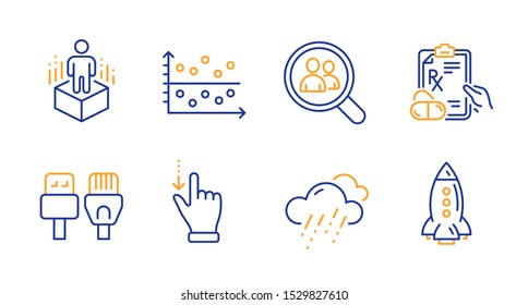 Computer cables, Touchscreen gesture and Dot plot line icons set. Search employees, Prescription drugs and Augmented reality signs. Rainy weather, Rocket symbols. Rj45 internet, Slide down. Vector