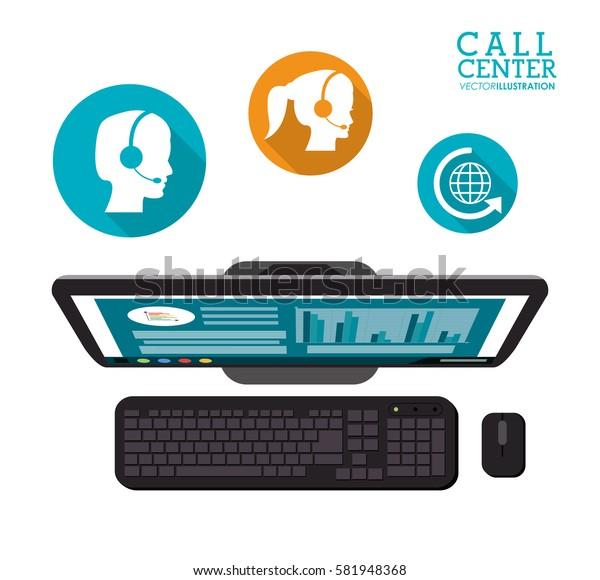 computer call center service icons