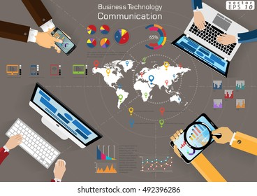 Computer Cellphone Tablet Laptop Technology Business Communication across world modern Idea and Concept Vector illustration Infographic template with Magnifier, icon,graph.