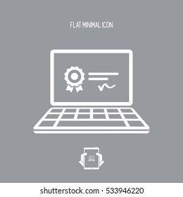 Computer certificate - Vector web icon