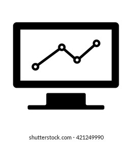 computer chart statistic icon black on white background