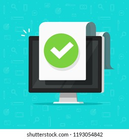Computer with checkmark or tick notification on document vector icon, flat design pc with approved doc paper sheet, idea of task done, update or download complete, accept or approve checkmark