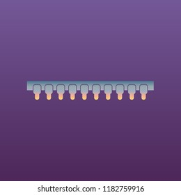 Computer chip. Microcircuit. Integrated circuit, microchip. Vector. Evening gradient icon at violet background.