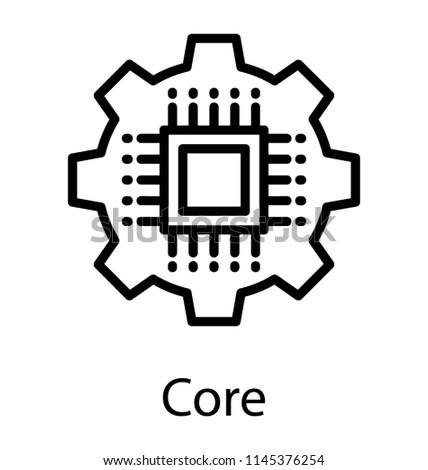 Computer Chip Over Big Cogwheel Representing Stock Vector Royalty