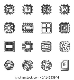 Computer Chips and Electronic Circuit icons with white background. Thin line style stock vector.