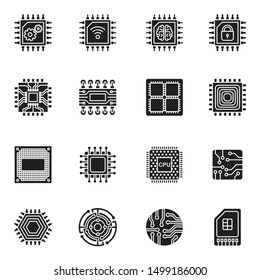 Computer Chips and Electronic Circuit icons flat with white background.