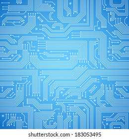 Computer circuit board bright blue seamless pattern vector illustration