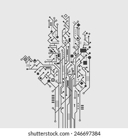 Computer circuit board in hand shape creative technology poster vector illustration