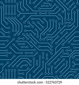 Computer circuit board. Seamless digital pattern. Vector electric  chipset scheme texture. Abstract technology background.