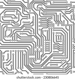 Computer circuit board seamless pattern. Black and white. Vector.