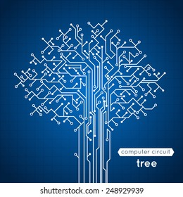 Computer circuit board tree creative electronics concept poster vector illustration
