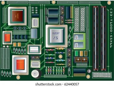 Computer Circuit Board Vector Illustration