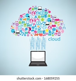 Computer clicking cloud icon. Concept vector illustration, EPS10.