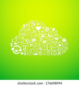 Computer cloud icon, concept vector background illustration
