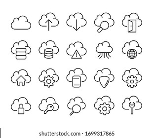 Computer cloud line icons set. Stroke vector elements for trendy design. Simple pictograms for mobile concept and web apps. Vector line icons isolated on a white background.