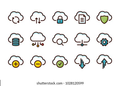 Computer cloud related color line icons. Vector icon set.