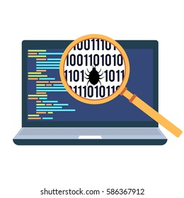 Computer code debugging concept flat style illustration