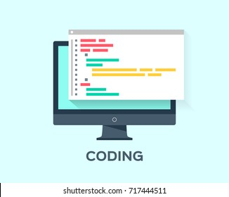 Computer with code on the screen on blue background. Coding concept