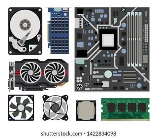 Computer components. Computer hardware. Computer accessories parts. Vector of computer components set.