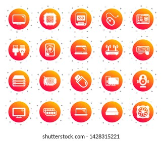 Computer components, Laptop, SSD icons. Motherboard, CPU, Internet cables icons. Wifi router, computer monitor, Graphic card. Keyboard, SSD device. Internet cables, laptop components. Vector