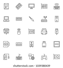 Computer components outline icons set. linear style symbols collection, line signs pack. vector graphics. Set includes icons as HDD, Ram memory, monitor, sound card, keyboard, Laptop, PC case, router