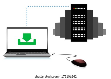 Computer connected to the server, vector illustration