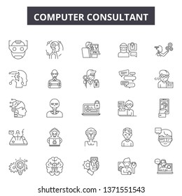 Computer consultant line icons, signs set, vector. Computer consultant outline concept, illustration: computer,business,consulting,service,support,web,set
