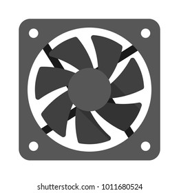 Computer cooler, PC hardware fan, vector flat style illustration isolated on white background
