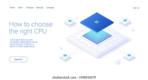 Computer CPU chip illustration in isometric vector design. Semiconductor microchip or processor. Abstract data component or gpu hardware circuit. Artificial intelligence or ai background.