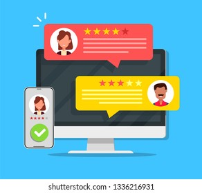 Computer with customer review rating messages vector illustration, flat cartoon design of laptop pc display and online reviews or client testimonials, concept of experience or feedback, rating stars