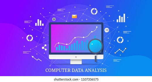 Computer Data analysis - Graph on computer screen - Digital analysis vector banner illustration with icons