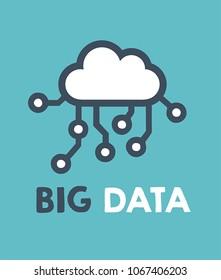 Computer data cloud icon. Text: Big Data.