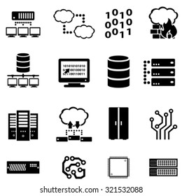 Computer, data, cyber security and cloud computing icon set