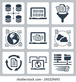Computer data related vector icon set