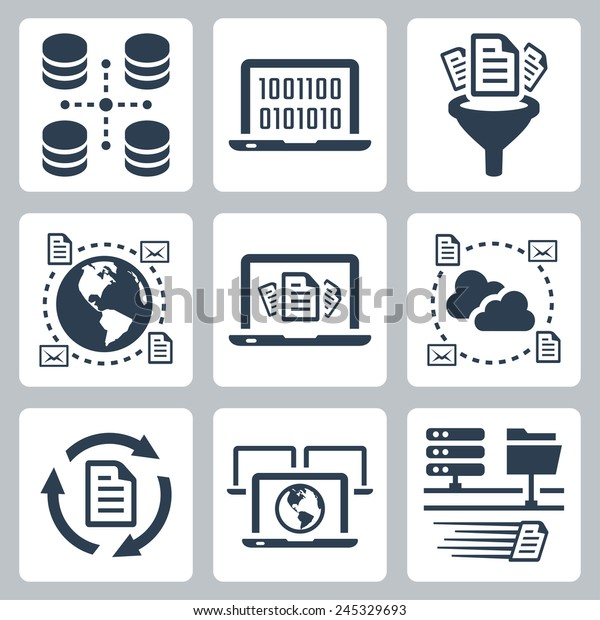 Computer Data Related Vector Icon Set Stock Vector (Royalty