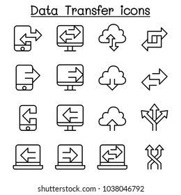 Computer Data Transfer icon set in thin line style