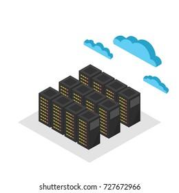 Computer database cloud servers. 3d telecommunication towers. Vector illustration.