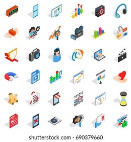 Computer design icons set. Isometric style of 36 computer design vector icons for web isolated on white background