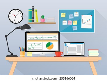 Computer desk, workplace cartoon, business concept, vector