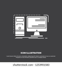 Computer, desktop, hardware, workstation, System Icon. glyph vector symbol for UI and UX, website or mobile application