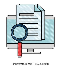 computer desktop with magnifying glass and document