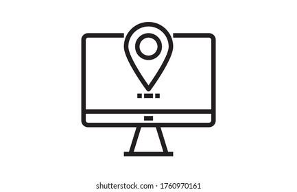 Computer with destination mark, navigator, geolocation flat  line icon.