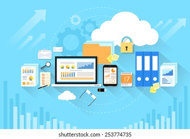 Computer device data cloud storage security flat design vector illustration