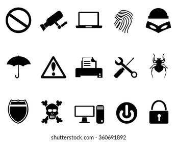 computer device security icons set