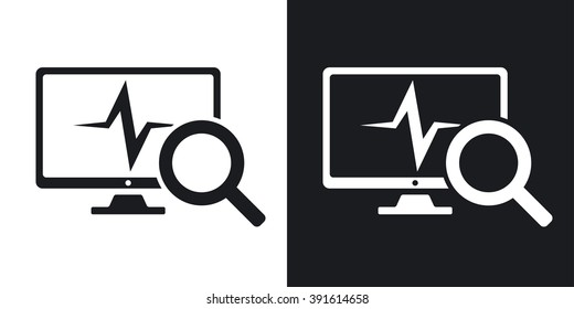 Computer diagnostics icon, vector. Two-tone version on black and white background