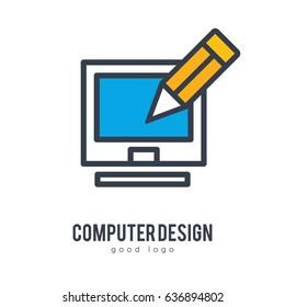 Computer Digital Art Design Simple Icon Logo Design Template