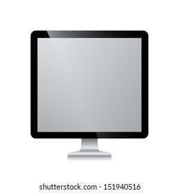 Computer display isolated on white background Vector illustration
