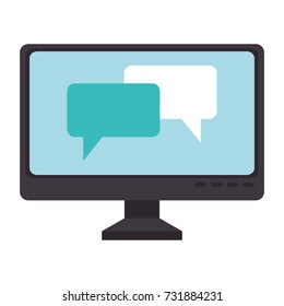 computer display with speech bubbles